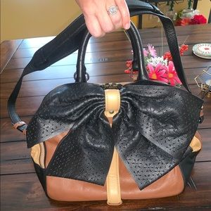 ISABELLA FIORE LEATHER BOW HANDBAG BLACK BROWN TAN
